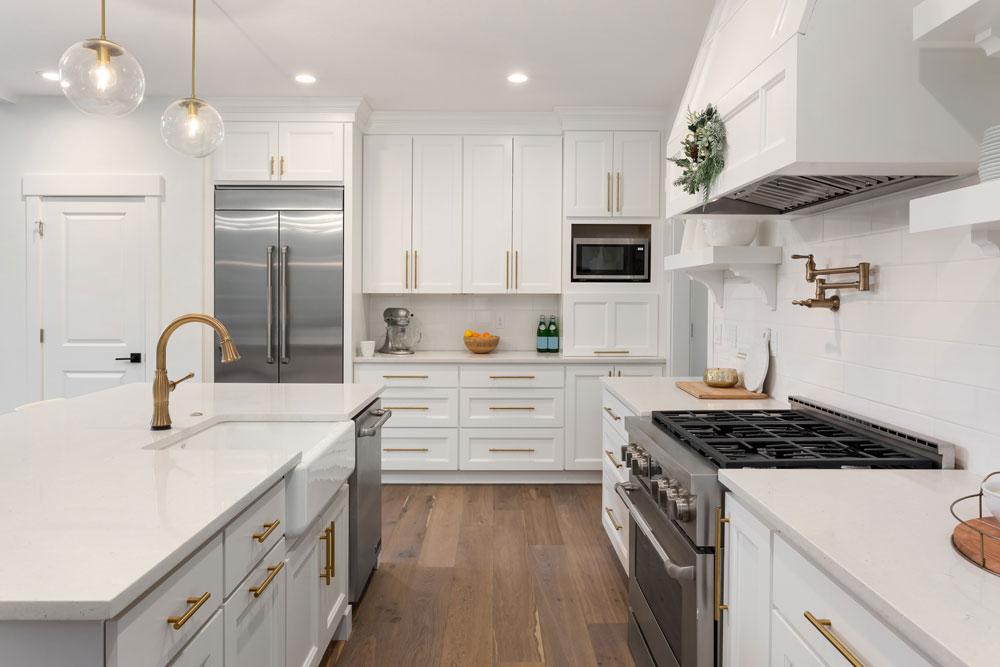 popular types of wooden kitchen flooring and types of cabinet would match